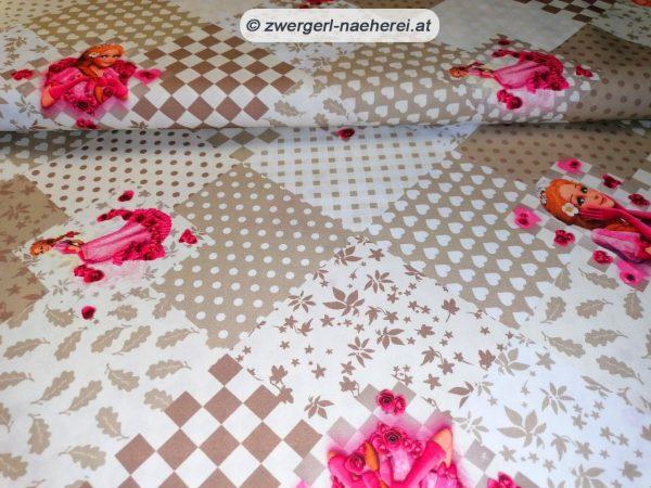 Stoff-Baumwolle-Dornroeschen-auf-Patchwork-beige 1