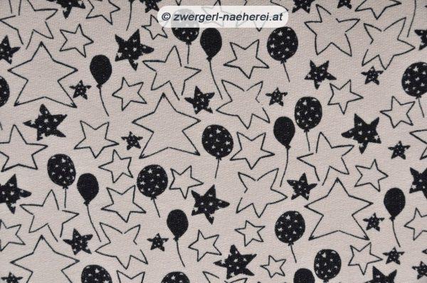 Bio-Jerseystoff-Luftballons-Sterne-creme-schwarz